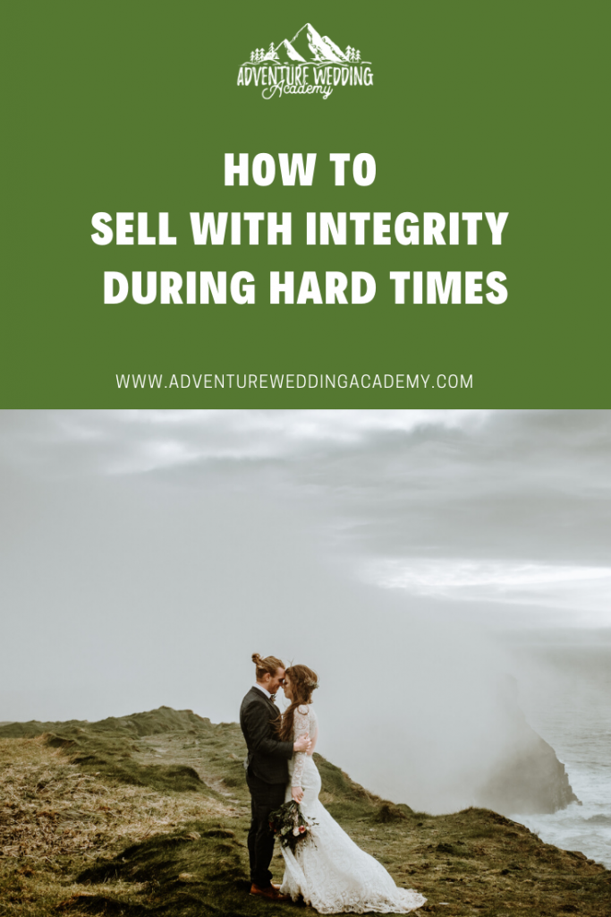 how to sell with integrity in a crisis pinterest graphic
